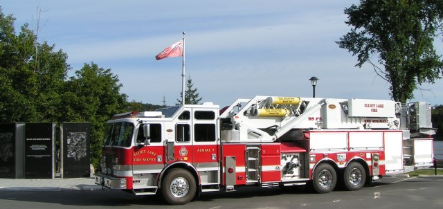 review image of One 95-foot platform, aerial ladder fire truck